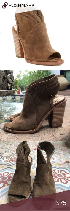 VINCE CAMUTO KORAL PEEP TOE ANKLE BOOTIE 9.5 PRELOVED.  JUST WORN A FEW TIMES.  THESE ARENIN GREAT CONDITION.  BUNDLE AND SAVE🤗🤗🤗🤗Only sold at NORDSTROMS Delicate perforations encircle the topline and slingback strap of an open-toe suede bootie lifted by a stacked block heel. Heel Style:block/chunky Side zip closure. Lightly padded footbed. Leather upper and lining/synthetic sole. By Vince Camuto; imported. Women's Shoes. Vince Camuto Shoes Sandals