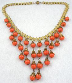 Miriam Haskell Book Chian Orange Bead Bib Necklace - Garden Party Collection Vintage Jewelry