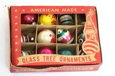 Vtg Glass Christmas Tree Ornaments Paper Novelty Glass Corp. Stamford Conn (424)