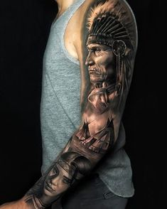 Nowadays more and more people have tattoos with various motifs. Native American tattoos are among the tattoos to draw my attention. Red Indian Tattoo, Indian Chief Tattoo, Native Indian Tattoos, Indian Skull Tattoos, Indian Tattoo Design, Native American Tattoos, Native American Fashion, Indian Headdress Tattoo, Indian Women Tattoo