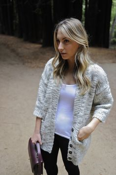 A Walk in the Woods. want this grey chunky knit sweater
