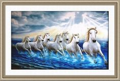 White Seven Horses Painting on Canvas with Frame Running in Water as per Vastu Horse Wallpaper, Flower Phone Wallpaper, 3d Wallpaper, Pichwai Paintings, African Art Paintings, Seven Horses Painting, Unicorn Painting, Peacock Coloring Pages, Tv Wall Design