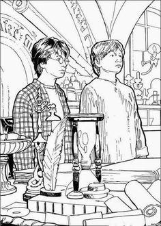 harry potter rony e hermione jogo de pintar desenhos