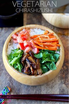 Make your own vegetarian chirashi sushi at home with this simple and easy recipe. Skip on the fish and feast on this yummy bowl of flavored veggies!