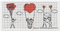 O Amor está no ar ! Cross Stitch Heart, Cute Cross Stitch, Cross Stitch Cards, Cross Stitch Borders, Cross Stitching, Cross Stitch Embroidery, Wedding Cross Stitch Patterns, Stitch Cartoon, Loom Patterns