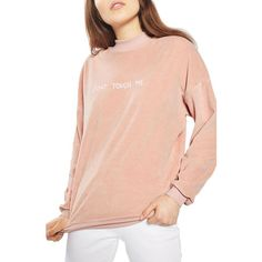 Women's Topshop By Tee & Cake Don'T Touch Me Velvet Sweatshirt ($60) ❤ liked on Polyvore featuring tops, hoodies, sweatshirts, dark pink, embroidered top, embroidered sweatshirts, red top, velvet top and topshop tops