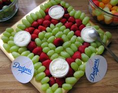 Baseball Party Idea ~ baseball diamond shaped fruit platter…obviously we wouldn't use a Dodgers logo. Softball Party, Baseball Birthday Party, Sports Birthday, Birthday Fun, Sports Party, Birthday Ideas, Baseball Party Themes, Softball Treats, Birthday Parties