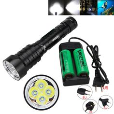 Tactical Waterproof Underwater 100m 15000LM 4X T6 LED 3-Modes Diving Flashlight Torch Light 2x26650