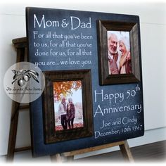 Celebrate the day your parents tied the knot with a special keepsake from Sugared Plums Frames. Our picture frames are a great way to commemorate your parents Anniversary, Anniversary, Anniversary, or any special Anniversary year! This listing is for a