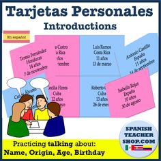 Practice asking and giving personal information such as name, origin, age, and birthday with this set of cards for Spanish class.