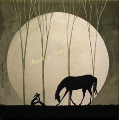 Original Painting Folk Art Landscape Silhouette Moon Girl Black Horse Bow Bowing | eBay