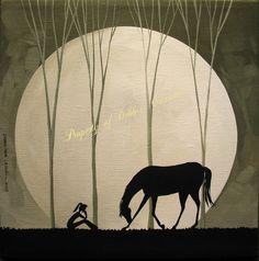Original Painting Folk Art Landscape Silhouette Moon Girl Black Horse Bow Bowing   eBay