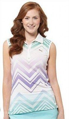 6279f10c1a6b3 Polo Puma Women s Refraction Sleeveless Golf Polo Shirt White Aqua Splash  Eletric Green  Polo