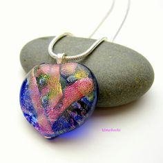 Fused Dichroic Glass Handmade Heart Pendant in Pink and Blue One of a Kind Bubbles of Love Heart Jewelry by 2GlassThumbs on Etsy