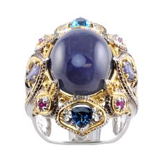 Michael Valitutti Two-tone Iolite, London Blue Topaz and Ruby Ring