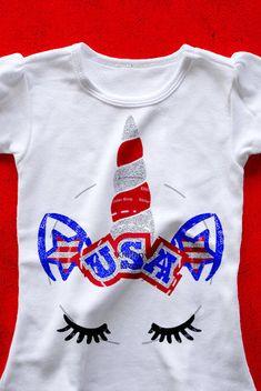 Of July Shirts: USA Fourth of July SVG, unicorn fourth of july unicorn svg, DXF of july unic. Fourth Of July Shirts For Kids, 4th Of July Outfits, Holiday Outfits, Family Shirts, Shirts For Girls, Patriotic Shirts, July Crafts, Vinyl Shirts, Diy Shirt