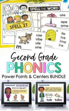 This phonics bundle contains four different units: CVC Short Vowels, CVCC Word Families, CVCe Long Vowels, and Consonant Digraphs. Each of the four units includes a PowerPoint, lesson plans, centers, phonics worksheets and reading passages that can be used to teach whole group lessons, small reading groups, intervention groups, and they can be used in literacy centers. Phonics Rules, Phonics Words, Phonics Worksheets, Word Work Activities, Spelling Activities, Phonics Centers, Digital Word, Word Work Centers, Powerpoint Lesson