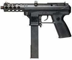 Interdynamic KG-9 / Intratec TEC-9 (1985-1994)    Type: Pistol (KG-99,TEC-9,DC-9,AB-10) , Machine Pistol (MP-9)    Caliber: 9x19mm Parabellum    Capacity: 10,20,32,36, and 50 round box magazines    Fire Modes: Safe/Semi (KG-9,KG-99,TEC-9,DC-9,AB-10), Safe/Semi/FullAuto 1000 RPM (MP-9 w/ collapsible stock), Safe/FullAuto 1000 RPM (MP-9 w/ no stock)