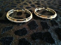 Gold Leopard Hoop Earrings with Diamond Accent for sale at Glamhairus.com