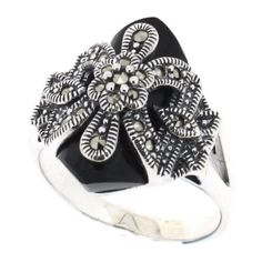 Onyx Marcasite Ring ($74) ❤ liked on Polyvore featuring jewelry, rings, anillos, vintage style jewelry, marcasite jewellery, marcasite ring, onyx jewelry and black onyx jewelry