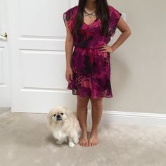 Express pink and purple above knee length dress Great condition! Fun with a belt.  Good for going out, work casual. Lined with a burgundy color slip. Express Dresses Midi
