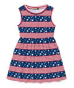 Red Stripe & Navy Star Dress - Toddler & Girls