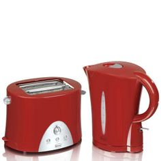 Swan Kettle and Toaster Twin Pack - Red, perfect for your new student house