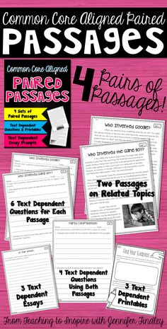 Paired Passages for 4th-5th Grade! 4 sets of paired passages with several text dependent printables and activities that require the student to use BOTH passages.