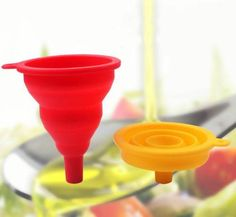 3 x Flexible Collapsible Funnel Hopper Silicone Gel Foldable Liquid Kitchen Tool