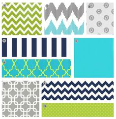 Custom Crib bedding  Turquoise Lime Green Navy by GiggleSixBaby, $293.00
