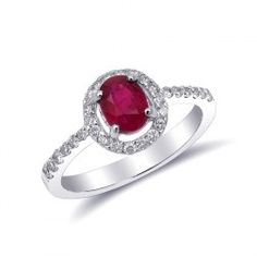 Oval shaped Natural Ruby at carats set in White Gold Ring with Diamonds Halo Diamond, Diamond Rings, Halo Setting, Orange Sapphire, Natural Ruby, Halo Rings, White Gold Rings, Heart Ring, Burmese Ruby