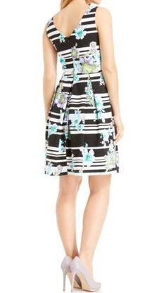 18.58$  Buy here - http://vioph.justgood.pw/vig/item.php?t=lap9tu139175 - Ronni Nicole NEW Black Striped Floral Printed Women's Size 10 Pleated Dress $79