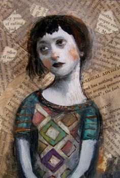 Hypochondria by ~flea-sha. Love the collage bits that tells the story behind the title. Painting Collage, Painting & Drawing, Paintings, Art Journal Inspiration, Painting Inspiration, Whimsical Art, Portrait Art, Face Art, Medium Art
