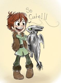 Little Hiccup and Toothless.