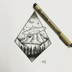 Ink drawing: triangle with space ship art ufo tattoo, tattoo Tattoos 3d, Alien Tattoo, Bild Tattoos, Tattoo Drawings, Tattos, Space Drawings, Cool Drawings, Black E White, Spaceship Art