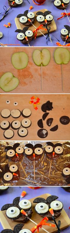 Recipe of a cute and easy Chocolate Apple Halloween Owl. A great Halloween sweet treat for children that can be prepared in 15 minutes! Halloween Desserts, Hallowen Food, Halloween Owl, Halloween Food For Party, Halloween Birthday, Halloween Projects, Holidays Halloween, Halloween Treats, Halloween Ideas