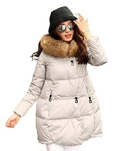 978fd88829002 Lingswallow Women s Winter Elegant Black Thicken Fur Hood Long Down Jacket  Coat