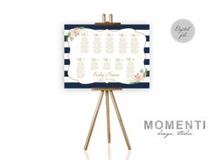 Wedding seating chart printable navy by MomentiDesignStudio