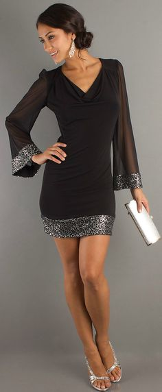 Chic draped V-neck black short dress