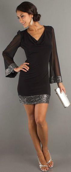 Chic draped V-neck black short dress