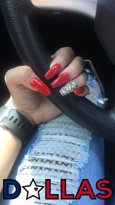 Red coffin rhinestone nails Source by madison_delia Silver Nail Designs, Cute Acrylic Nail Designs, Nail Art Rhinestones, Rhinestone Nails, Homecoming Nails, Prom Nails, Coffin Nails, Dimond Nails, Urban Decay