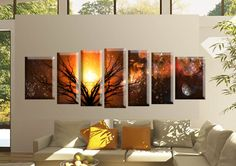 Tablou Abstract 5890 Dimensiuni: 2x 35x50 cm - 2x 25x60 cm - 2x 25x65 cm - 1x25x70 cm Total: 195x70 cm Abstract, Table Lamp, Canvas, Paper, Modern, Nails, Home Decor, Summary, Tela