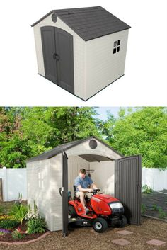Lifetimeu0027s resin storage shed delivers low maintenance u0026 resists weather decay.  sc 1 st  Pinterest & Low Height Shed u2013 Suncast Glidetop Shed. Low Maintenance Easy to ...