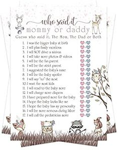 Amazon.com: Woodland Friends Baby Shower Game Pack - Mommy or Daddy (25 Cards) – Guess Which Parent Said It – Girls Sprinkle Activity – Pink Rustic Floral – Cute Little Forest Animals: Home & Kitchen Baby Shower Game Prizes, Baby Shower Games Unique, Games For Boys, Baby Games, How Big Is Baby, Good Parenting, Forest Animals, Cool Baby Stuff, Party Supplies