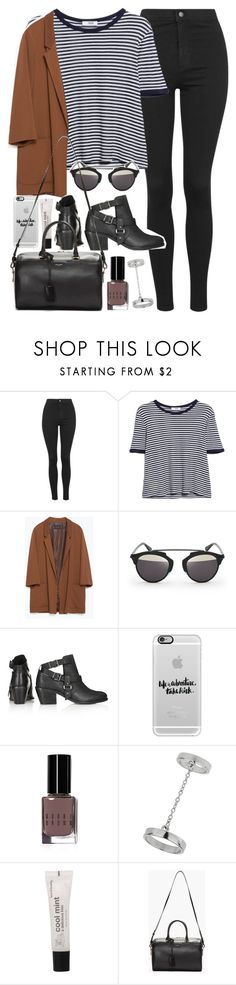 """Outfit with jeans and blazer"" by ferned ❤ liked on Polyvore featuring Topshop, MANGO, Zara, Christian Dior, Casetify, Bobbi Brown Cosmetics, Forever 21 and Yves Saint Laurent"