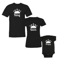 King, Queen & Prince Matching Mother Father Baby Black T-Shirts Matching Dad Mom Baby Son Matching Father And Son And Mom (WM6_7_8)