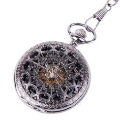 Wedding gift:Skeleton Pocket Watch Chain Mechanical Hand Wind Half Hunter Antique Look Value Quality