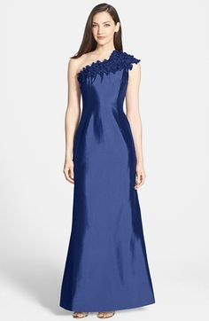 Daymor Couture Style#212 in color Indigo Blue  - One-Shoulder Taffeta Gown available at #Nordstrom