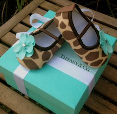 Tiffany & Co Inspired Giraffe Infant Crib Shoes by RockkandyKids, $14.00