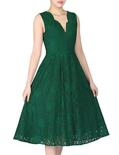 Manydress Women's Vintage Sleeveless Scalloped Floral Lace Cocktail Prom Dress (14, Green). Scalloped V-neck,Sleeveless,Swing. Full Floral Lace.1950S Retro Style. Unique style, make you more beautiful, fashion and elegant. Suitable for Many Occasions like Party,Casual,Cocktail,Prom,Bridesmaid. Please check our size information in the below product description or the size photo in the left of our item photo before you decide to buy it!(Note:The Generic Amazon Size Chart is not our size).